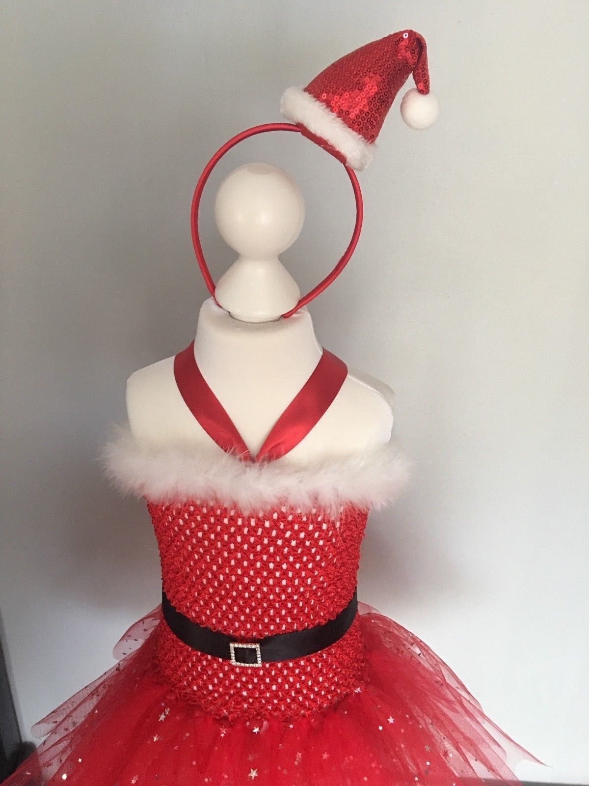 Santa Red Sparkly Tutu Tulle Dress Hat Girl Christmas